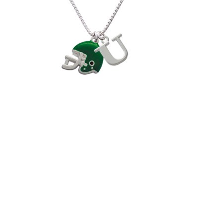 Silvertone Small Green Football Helmet Capital Initial U Necklace - Small Football Helmets
