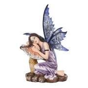 5.25 Inch Fairyland Purple Fairy Sleeping on Mushroom Statue Figurine
