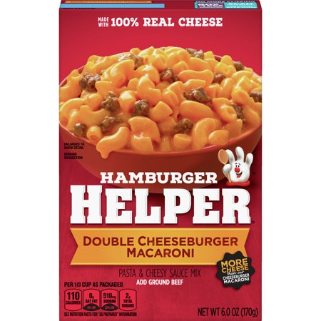 Hamburger Helper Double Cheeseburger Macaroni Hamburger Helper 6 Oz Double Cheeseburger Macaroni Hamburger Helper is made with 100% REAL cheese for the real taste you love most. Our products are made with NO artificial flavors or colors from artificial sources. Add Your Own Twist! Into yummy bacon deliciousness? Just before serving, stir in chopped cooked bacon and chopped tomatoes and for unexpected zest chopped pickles.