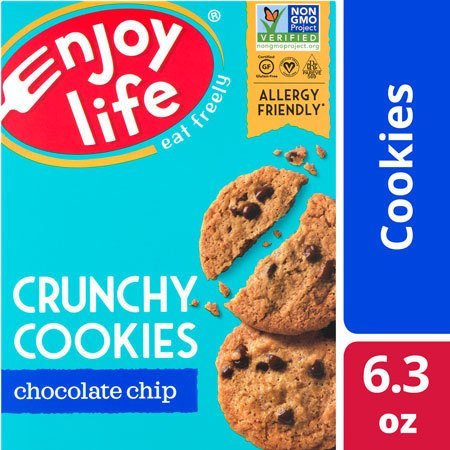Enjoy Life Foods Gluten Free, Allergy Friendly Chocolate Chip Crunchy Cookies, 6.3 oz (Diary Free Snacks)