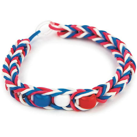 Patriotic Rubber Band Bracelet Kit, Pack of 48