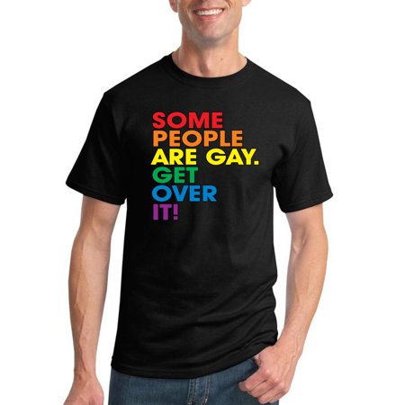 Some People Are Gay Get Over It | Mens Fashion Graphic T-Shirt, Black, Large