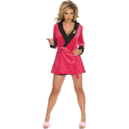 Women's  Adult Pink Playboy Girlfriend Robe Costume - Manziel Girlfriend Halloween