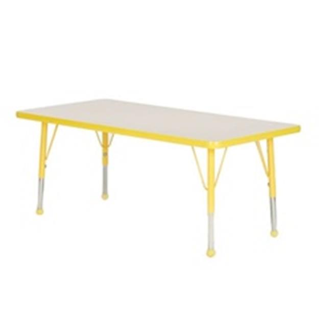 Mahar Manufacturing N3060YL-SN Rectangle Activity Table with Grey Nebula Top and Yellow Edge, 30 x 60 in.