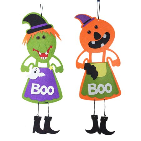 2PCS Halloween Hanging Tag Pumpkin Ghost Decoration for Home Door Window Bar Shopping Malls Company Party