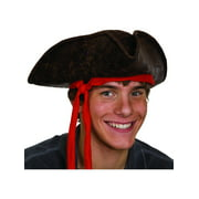 Caribbean Pirate Hat With Red Ribbon Costume Accessory