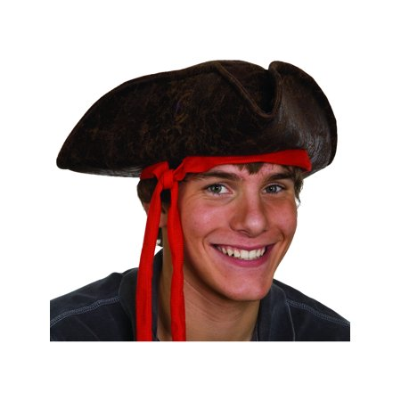 Caribbean Pirate Hat With Red Ribbon Costume Accessory (Pirate Hats)