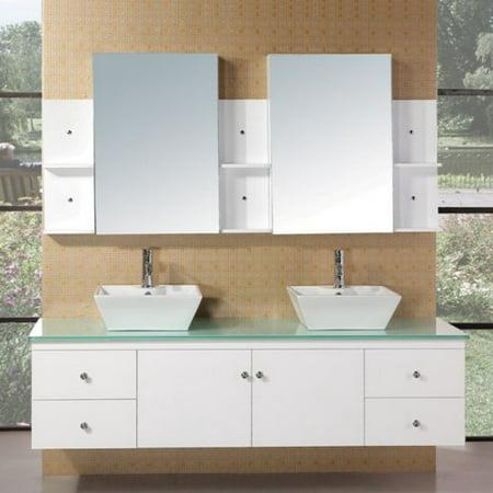 Design Element DEC071B-W Portland 71-in. Double Bathroom Vanity Set