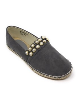 Women's Forever Young Faux Suede Pearl Studded Espadrille