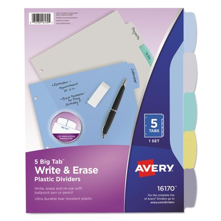 Avery R  Big Tab Tm  Write   Erase Durable Plastic Dividers 16170  5 Multicolor Tabs  1 Set