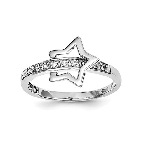 925 Sterling Silver Rhodium Plated Diamond Star Ring Size 8