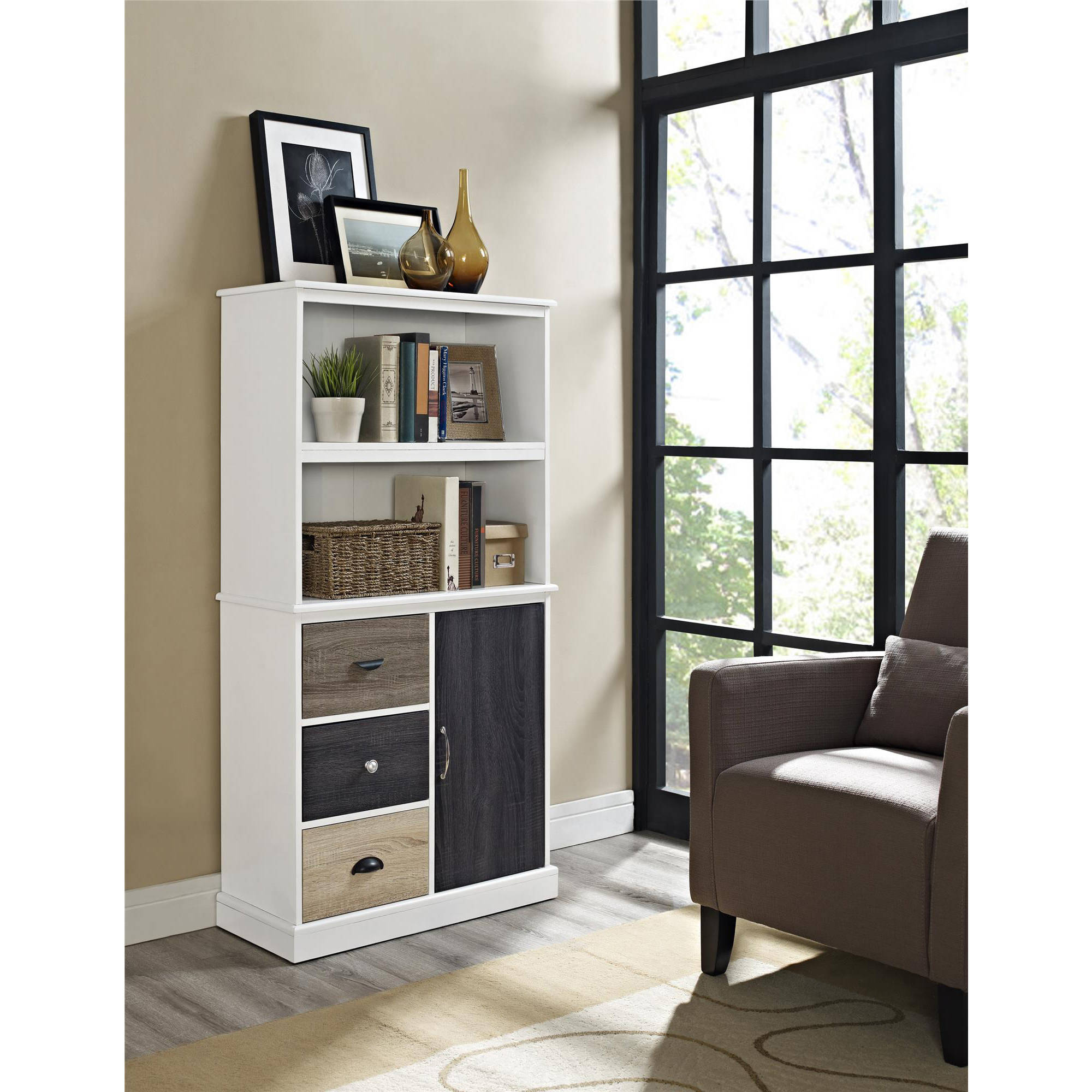 Ameriwood Home Mercer Storage Bookcase with Multicolored Door Drawers, White