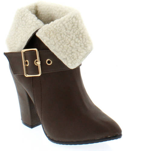 Shoes of Soul Women's Fleece Lined Fold Over Bootie