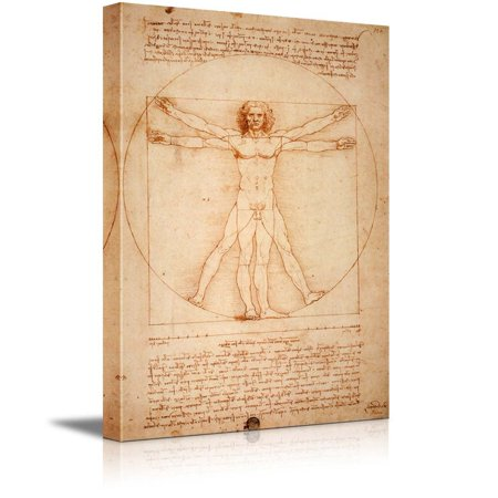 Vitruvian Man by Leonardo Da Vinci Giclee Canvas Prints Wrapped Gallery Wall Art | Stretched and Framed Ready to Hang - 32