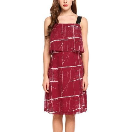 Women Fashion Sleeveless Wide Strap Ruffled A-Line Chiffon Short Dress HFON