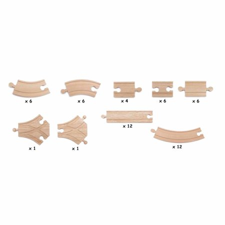 maxim enterprise 54 piece expansion wooden train track pack. Black Bedroom Furniture Sets. Home Design Ideas