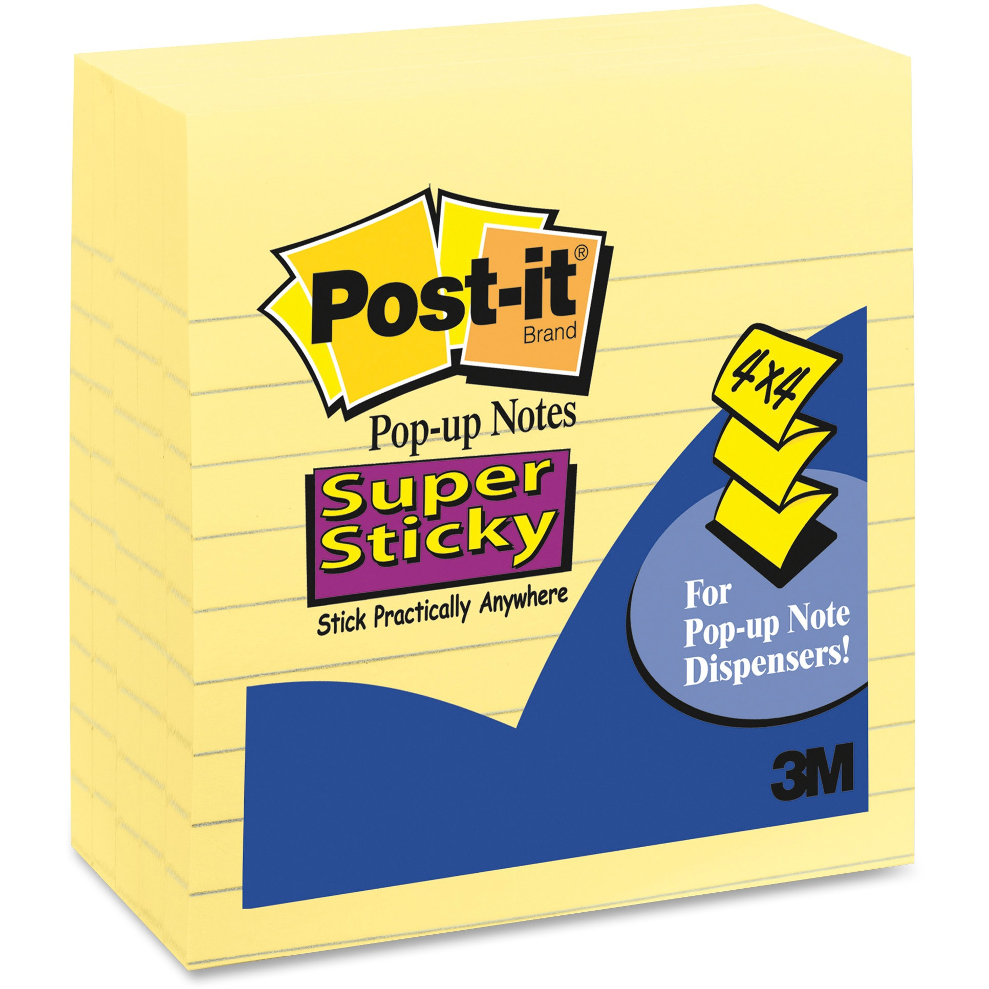Post-it Super Sticky Lined Pop-up Notes 5 pack, 4 in x 4 in, Canary Yellow