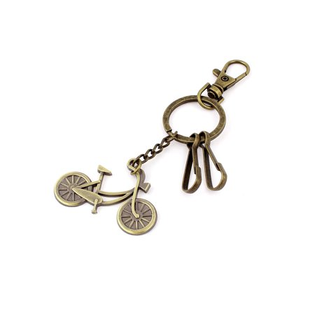 Metal Bicycle Shaped Pendant Swivel Lobster Clasp Keychain Keyring Bronze -