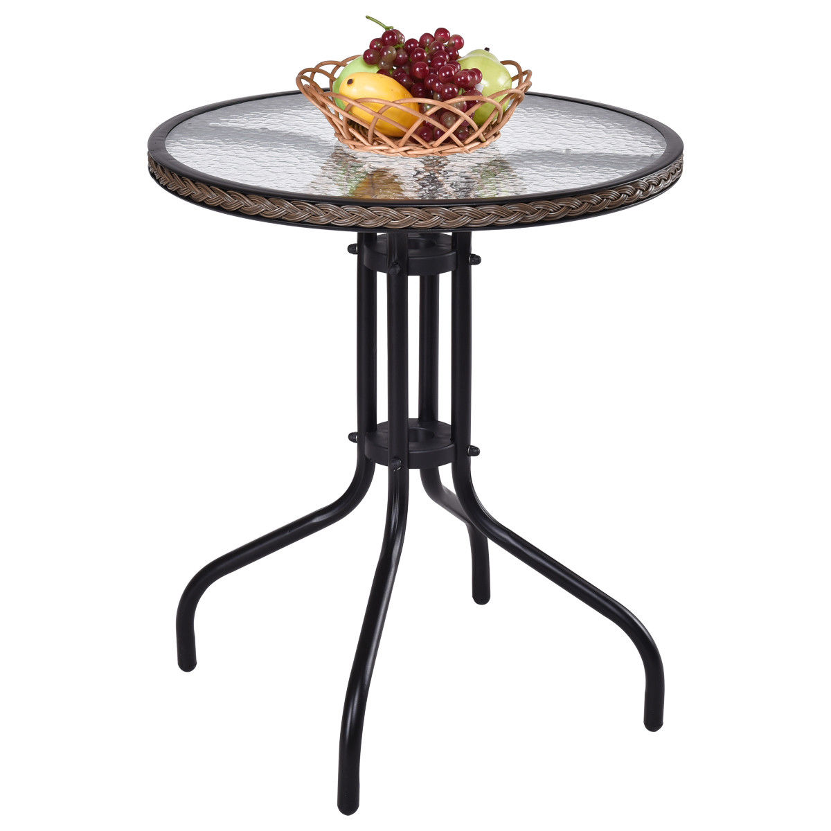 Gymax Steel Frame Glass Top Patio Round Table Dining Table Patio Furniture