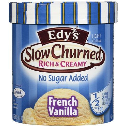 Edy?s Light Slow Churned Rich & Creamy No Sugar Added French Vanilla Ice Cream, 1.5 qt