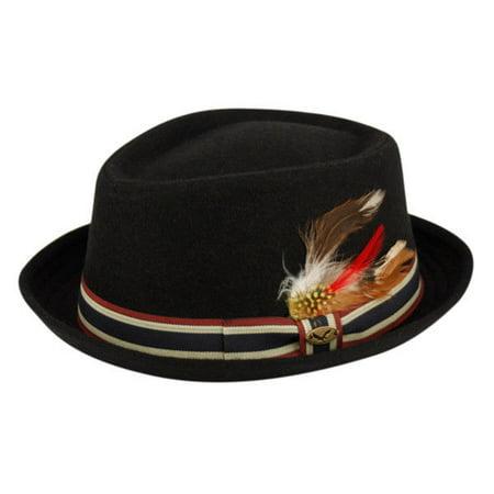 Wool Fedora Hat w/Feather Stripe Band Diamond Shape Classic Pork Pie
