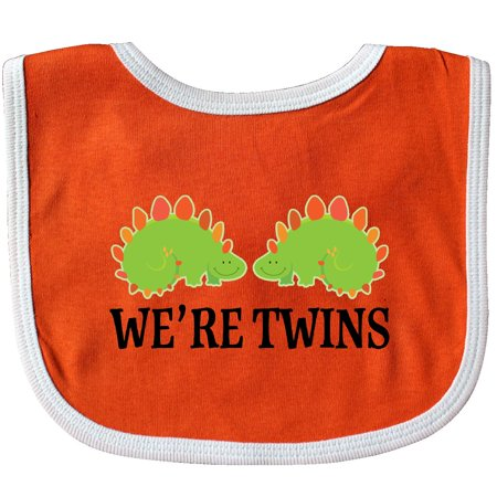 Inktastic Dinosaur Twins Cute Gift Baby Bib Twin Boys Dino Kids Childs Animal