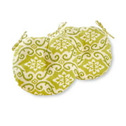 Greendale Home Fashions Green Ikat 15'' Outdoor Bistro Chair Cushion, Set of 2