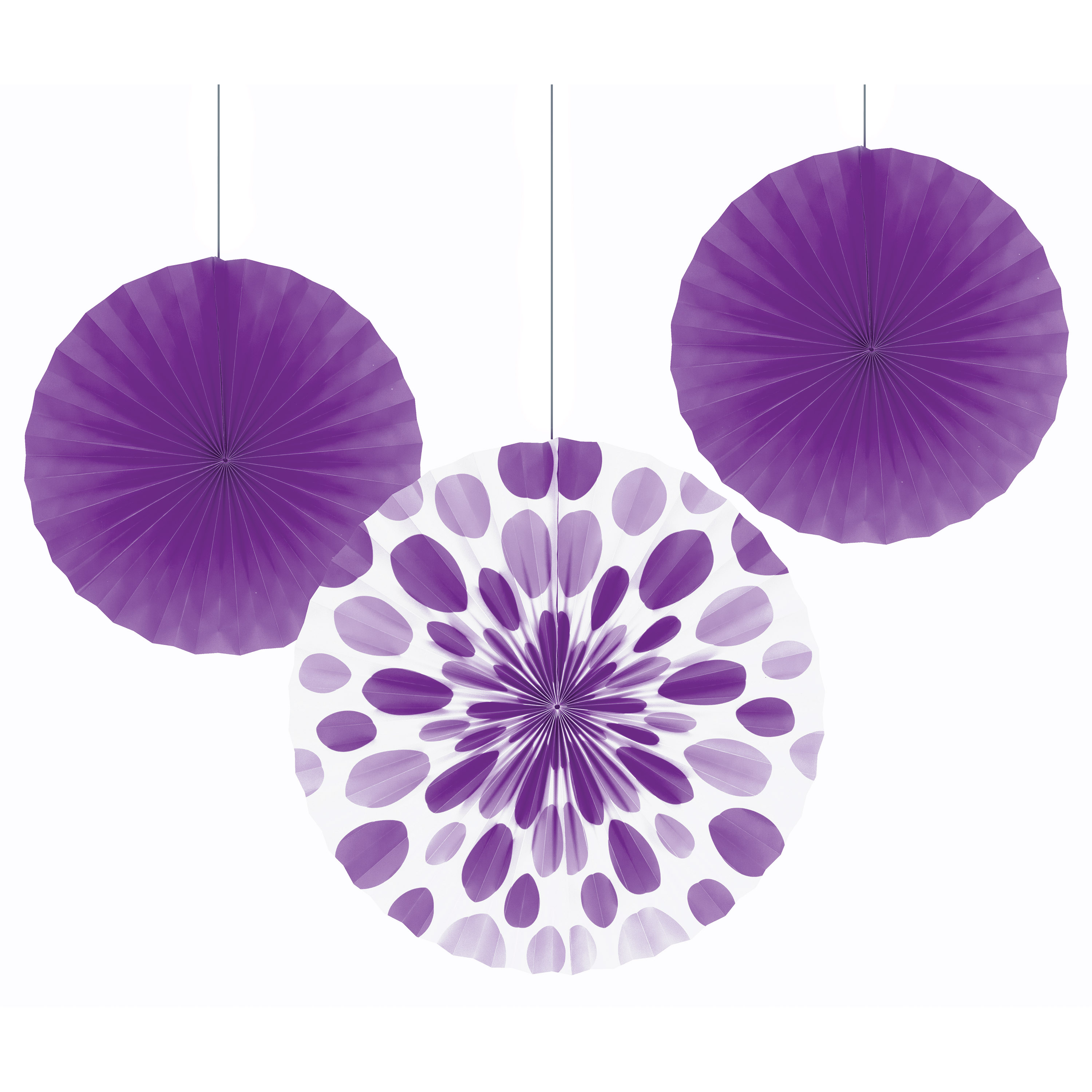 Amethyst Purple Paper Fan Set, 3 pk