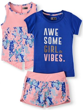 35e1727a Free shipping on orders over $35. Free pickup. Product Image Graphic Tee,  Tank and Dolphin Short, 3-Piece Active Set (Little Girls