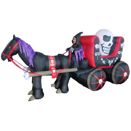 BZB Goods Halloween Inflatable Carriage with Huge Skull Indoor/Outdoor Decoration