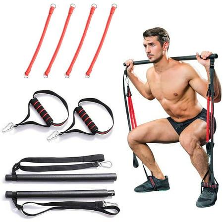 Portable Home Gym Pilates Bar System Full Body Workout Equipment Training Kit
