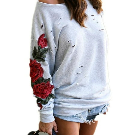 Women's Rose Sweater Floral Sweatshirt Embroidered