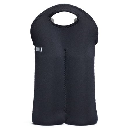 Built NY Black Neoprene Two Wine/Water Bottle Tote (Tote Bag With Water Bottle Holder)