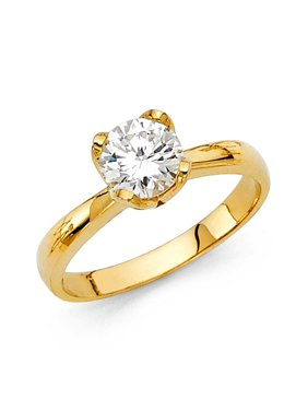 14K Solid Gold Polished 1.00 cttw Round Brilliant Cut Solitaire Cubic Zirconia Engagement Ring , Size 5