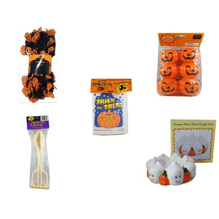 Halloween Fun Gift Bundle [5 Piece] -  Black & Orange Pumpkin Garland 10 ft. - Party Favors Pumpkin Candy Containers 6 Count -  Trick or Treat Bags 40/ct - Skeleton Server  -  Ceramic Ghost Head Can