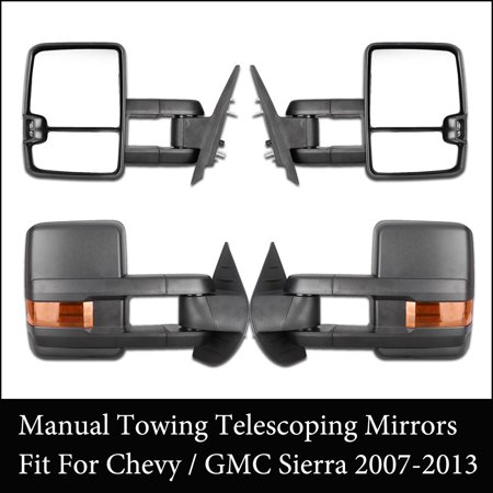 GZYF Pair Manual Telescopic Extendable Towing Mirrors for Chevy Silverado GMC Sierra 2007-2013 Black