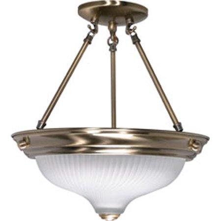 Replacement for 60/241 2 LIGHT 13 INCH SEMI FLUSH FROSTED SWIRL GLASS ANTIQUE BRASS TRADITIONAL Antique Brass Semi Flush