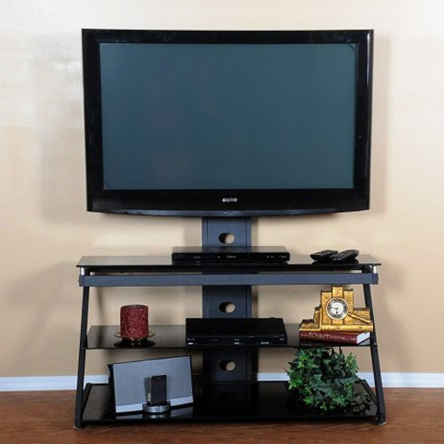 RTA Home and Office T1D-106 NEW Tier One Designs Black with Black Glass TV Mount