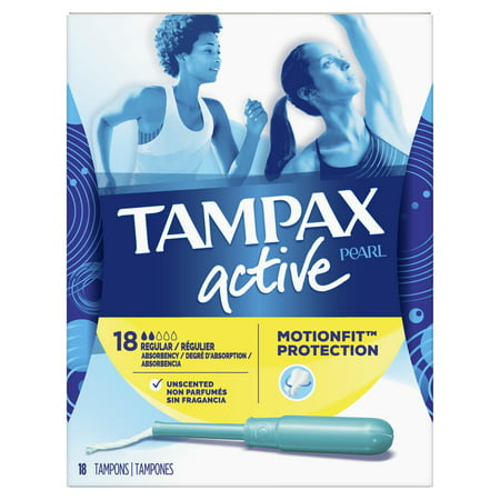 TAMPAX Pearl Active Tampons Regular Plastic Unscented, 18 Count