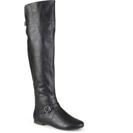 Womens Buckle Tall Round Toe Riding (Tall Flat Riding Boot)