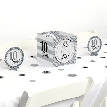 We Still Do - 10th Wedding Anniversary - Party Centerpiece & Table Decoration Kit