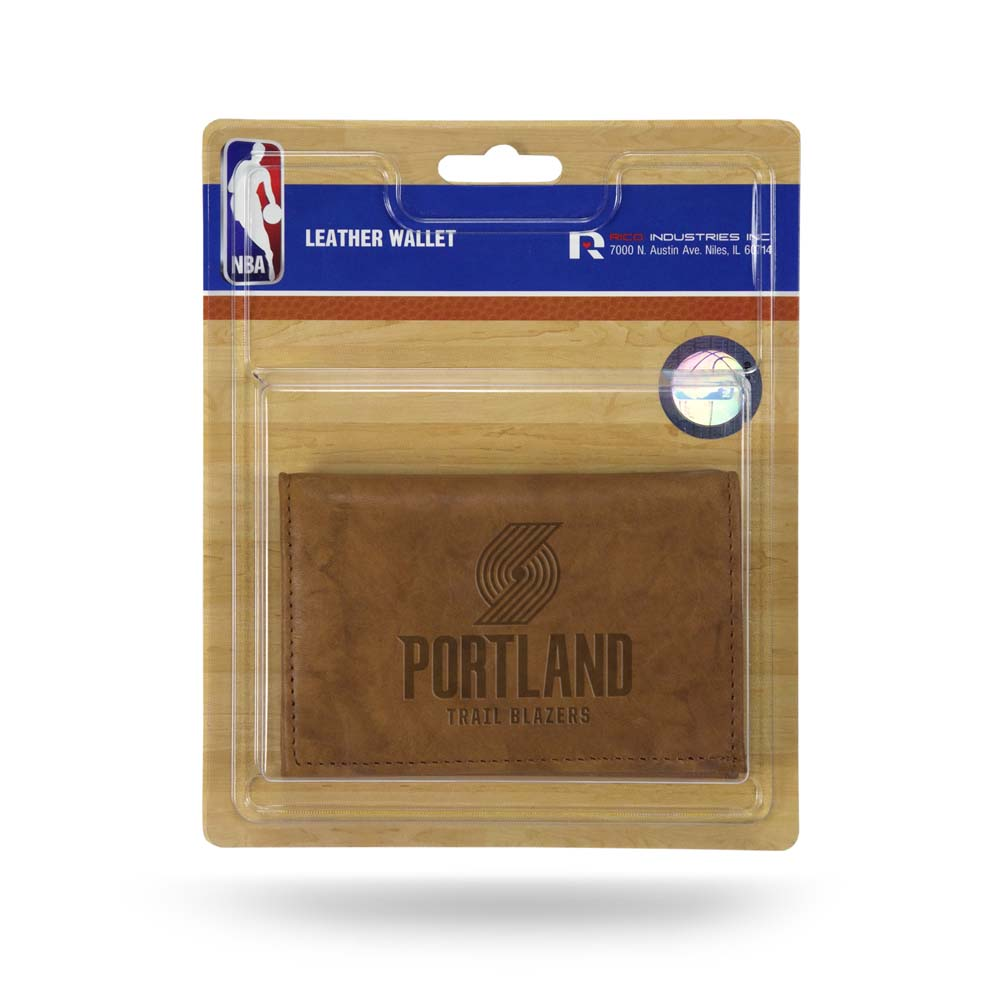Portland Trailblazers Embossed Leather Trifold Wallet (Manmade Interior)