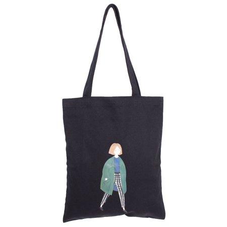 Outside Beach Canvas Girl Pattern Reusable Food Holder Shoulder Tote Bag Black