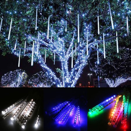 LHCER 30cm 144 LED Meteor Shower Rain Lights, 8 Tubes Falling Rain Light Drop Christmas Light Icicle String Light for Garden Holiday Party Wedding Christmas Tree Decoration ()