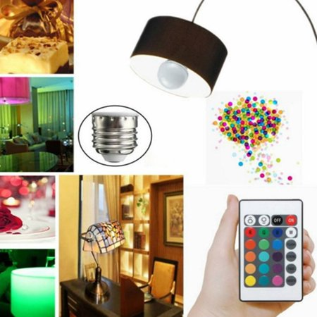 3W RGB LED Light Bulb Colorful E27 Lamp Indoor Wireless With Remote Controller - image 2 of 10