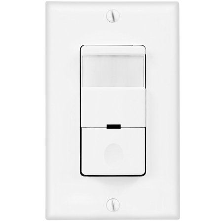 TOPGREENER PIR Motion Sensor Light Switch, 500W Infrared Occupancy Vacancy Motion Detector Sensor, Single Pole with NEUTRAL Wire & Wall Plate, TDOS5-White