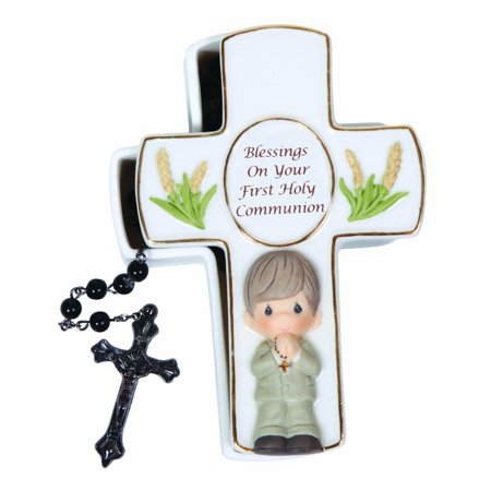 Precious Moments 123407 Blessings On Your First Communion Boy Covered Box - First Communion Gifts For Boys