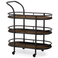 Baxton Studio Karlin Rustic Industrial-Style Antique Black Textured Finish Metal Distressed Wood Mobile Kitchen Bar Serving Wine Cart