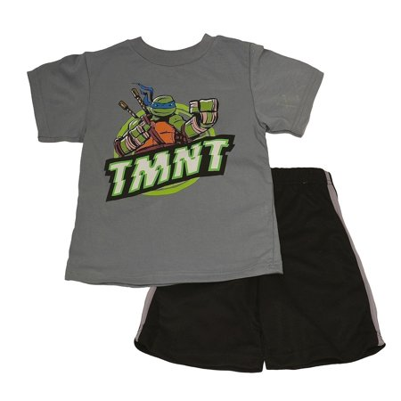 Nickelodeon Little Boys Gray TMNT Cartoon Printed T-Shirt 2 Pc Shorts Set - Teenage Outfit Ideas Tumblr