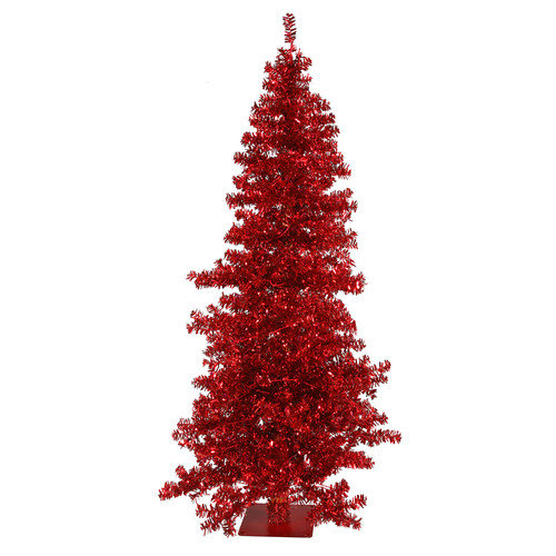 Vickerman Co. Red Wide Cut 7.5' Red Artificial Christmas Tree with 300 Red Mini Lights with Stand